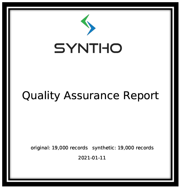 Synthetic data quality report template
