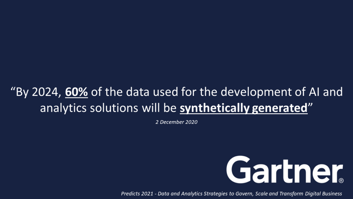 By 2024, 60% of the data used for the development of AI and analytics solutions will be synthetically generated