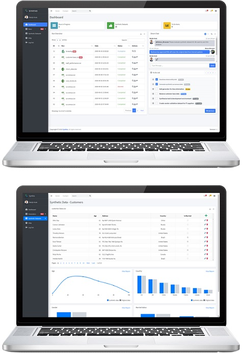 Synthetic data generation software dashboard from syntho